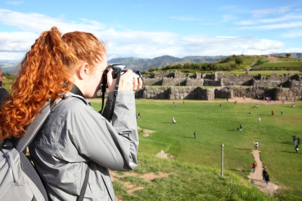 Nuala sets up a shot at Saqsaywaman ruins in Cusco. (Photo: J.Lambert)