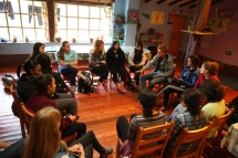 Lucas, a German volunteer at Munaychay, gives us an an introduction to the orphanage. (Photo: J.Lambert)