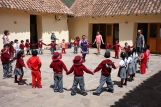"A rousing game of tag starts with a large circle in the courtyard. When the profesora yelled ""Lobo!"" things got pretty crazy! (Photo: J.Lambert)"