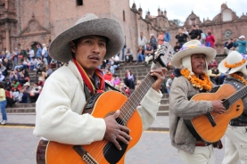 Musicians play during a harvest fest celebration in Plaza de Armas. (Photo: J.Lambert)