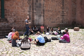 Our first group meeting! We held our program orientation in the heart of Cusco, Plaza de Armas. We developed goals and expectations for the program and the group was introduced to their new teachers Brock and Erika. (Photo: J.Lambert)