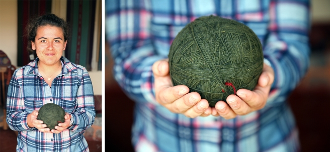 Andrea shows off a fine ball of hand-spun thread. (Photo: JLambert)