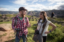Photography instructor Mr. Lambert, works with Eve at Saqsaywaman.
